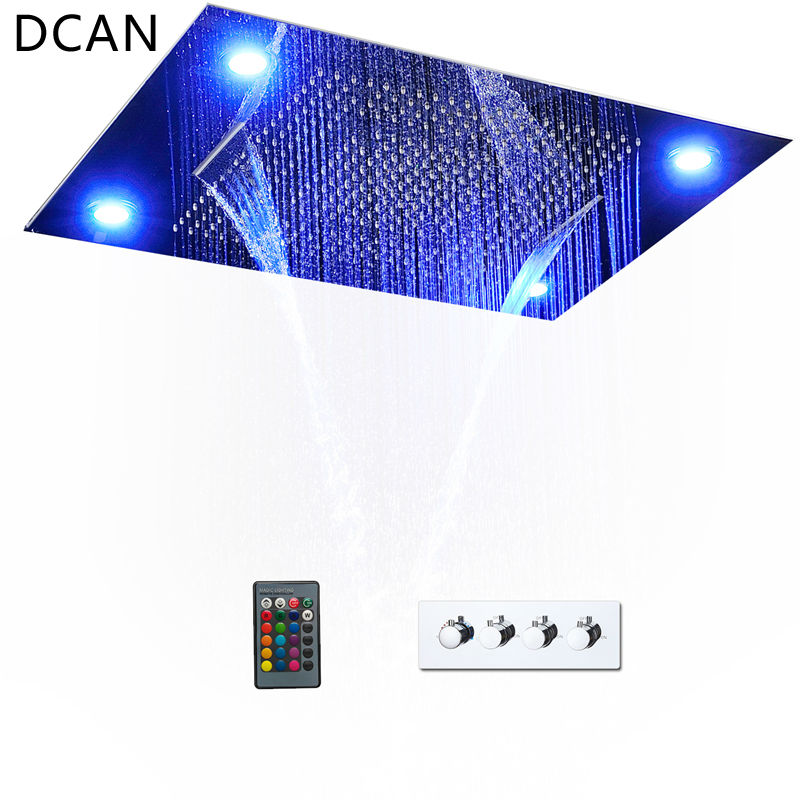 DCAN Luxurious LED Shower System Ceiling Mount Rain Head Set 31 Luxury Big Rain Shower Head Dual Rain and Waterfall Shower Sets clouds without rain