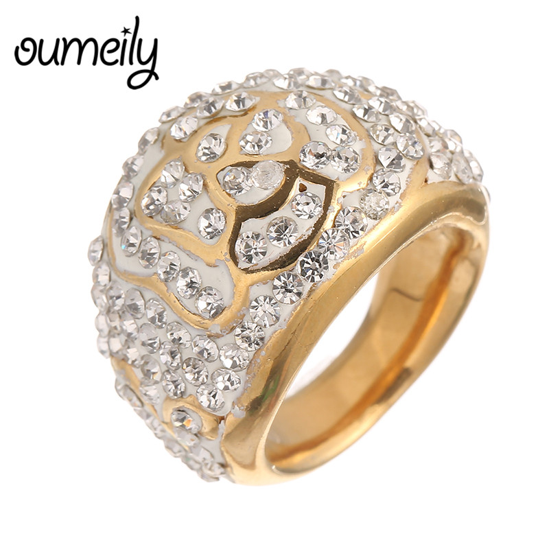 OUMEILY Trendy Engagement Rings Men Jewelry Dubai Imitation Crystal