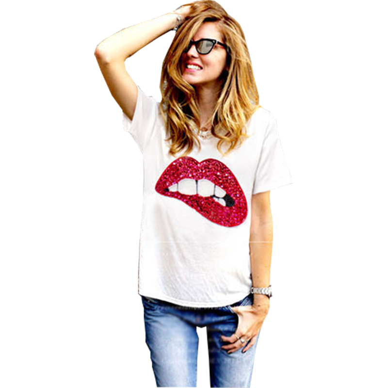 T Shirt Women 2019 Vintage Summer Style Lips Print Short Sleeve O Neck T-Shirt Cheap Tshirt Cloth Vestidos Ropa Mujer T013