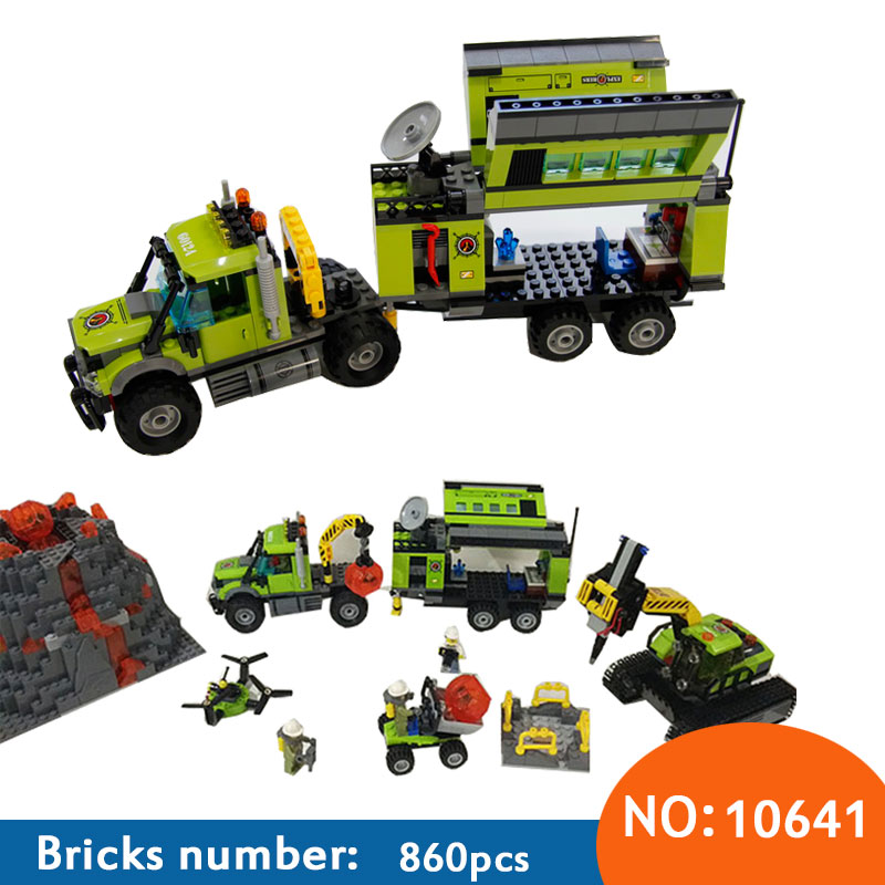 10641 City Series Volcano Exploration Base Geological Prospecting Building Block DIY Bricks Toys Gift For Children 60124 lepin 02005 volcano exploration base building bricks toys for children game model car gift compatible with decool 60124