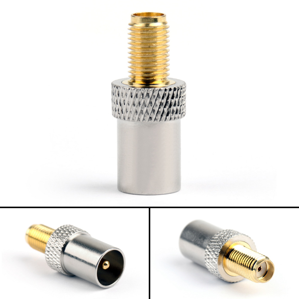 Areyourshop SMA Female Plug Jack To TV IEC Male Plug 50 Ohm Connector RF Coaxial Adapter Copper 1/4P 5 x rf antenna fm tv coaxial cable tv pal female to female adapter connector
