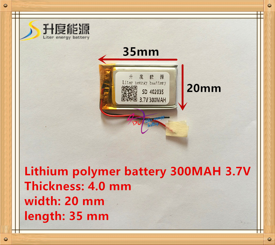 3.7V lithium polymer battery 042035 402035 300MAH MP3 MP4 MP5 battery Bluetooth headset battery liter energy battery 3 7v polymer lithium battery 401215 mp3 mp4 60mah bluetooth headset small toy sound