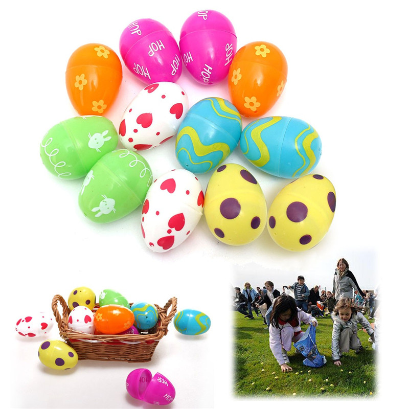 Easter design promotion shop for promotional easter design on beautiful design 12pcs mix colored plastic empty fillable easter eggs hunt baby child gift party home wedding decoration negle Image collections