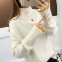 Fall and Winter 2019 New Korean version short Pullover half high collar long sleeve loose and lazy bottom knitted sweater woman