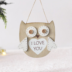 3D деревянные таблички и знаки, креативная модель совы, я люблю тебя, слова, Рождественская елка, украшения совы, висячие украшения, декор для ...