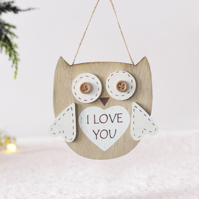 Vintage Rustic Wood Plaques Signs Creative Wooden Owl Ornaments Door Plate Craft Bedroom Wall Hanging Decoration Home Decor Love