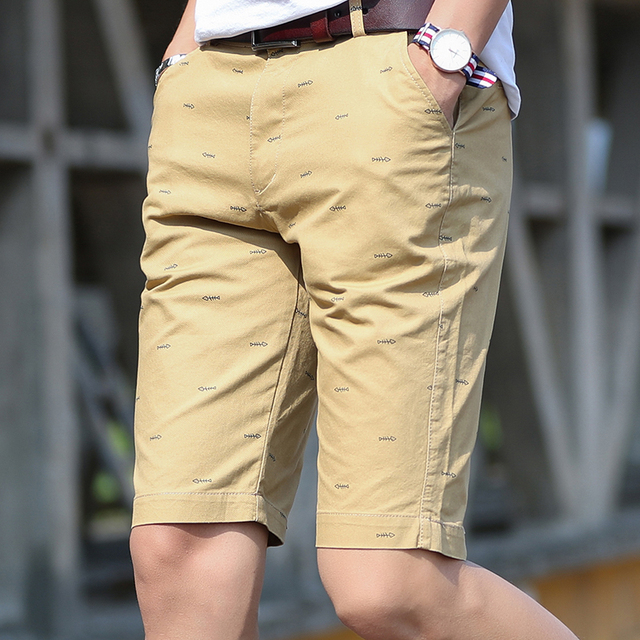 Summer Men Shorts Quality Cotton Short Pants Fishbone Printing Cosual Formal Shorts Bermuda Masculina Plus Size 28-40 Bermuda