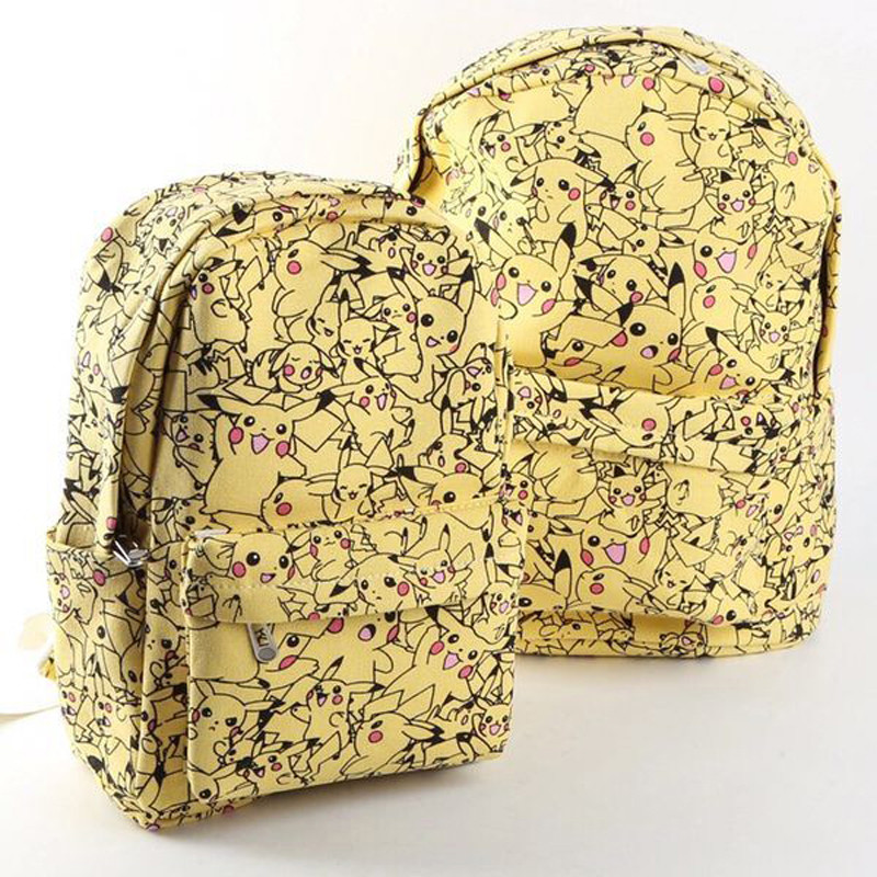 Women Cartoon Canvas Pokemon Backpack School Bag Cute Pikachu Printing Rucksack Backpack Bags New Fashion BP0058 pokemon pikachu haunter eevee bulbasaur canvas backpack students shoulders bag pocket monster haunter schoolbags laptop bags