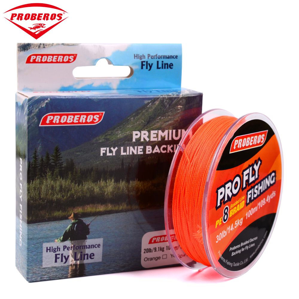 100m pro beros brand pro series fly line 20lb 30lb yellow for Fishing line brands