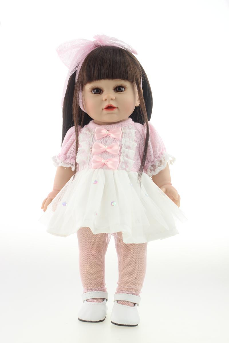 Full Vinyl American 18  Baby Doll Fashion Baby Toy Realistic Baby Alive Doll Handmade Baby Toys Collectible American Girl lifelike american 18 inches girl doll prices toy for children vinyl princess doll toys girl newest design