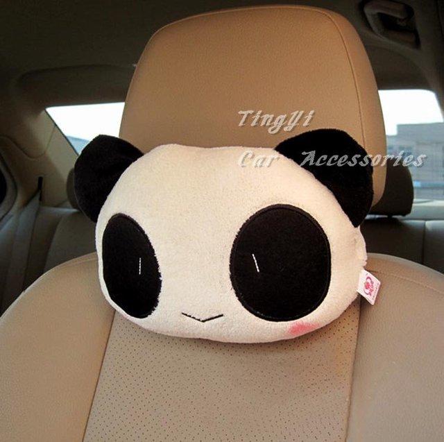Free shipping Cute Cartoon Panda Plush Car Head rest Cushion Pillow /Car Accessories/28cm*22cm/Low Price High Quality!!!