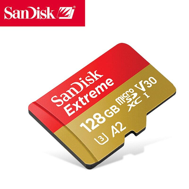 Original Sandisk Extreme Micro SD Card U3 V30 A2 128GB Mcrosd Flash TF Card Cartao De Memoria Memory Card For Drone Smart Phone