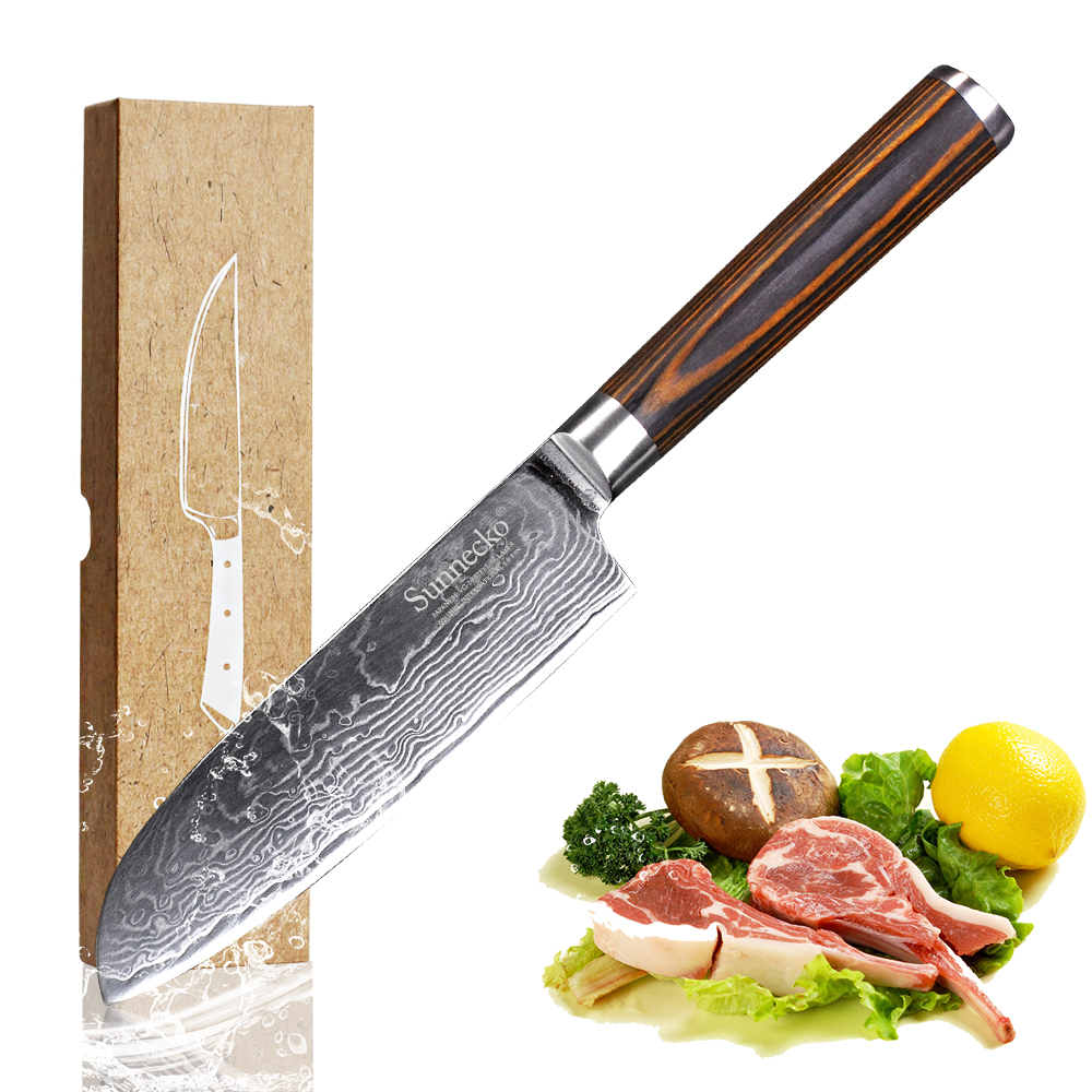 Sunnecko 5 inch Santoku Knife 73 Layers Japanese VG10 Damascus Steel Sharp Kitchen Knives Utility Tool