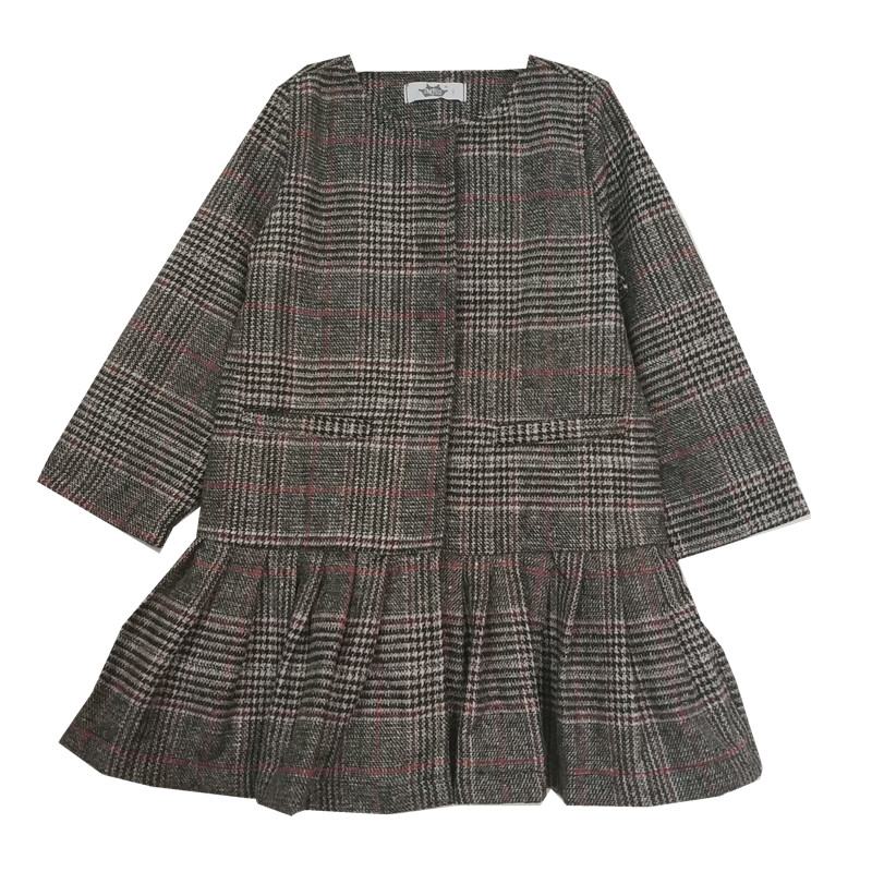 4 to 16 years kids & teenager girls long sleeve plaid pleated elegant formal dresses children fashion fall winter dress clothing plaid pleated cami dress