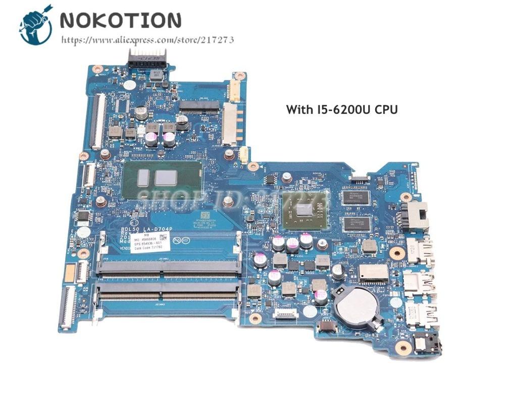 NOKOTION For HP 15 AY 15 ay015ds Laptop Motherbard SR23Y I5 6200U CPU BDL50 LA D704P