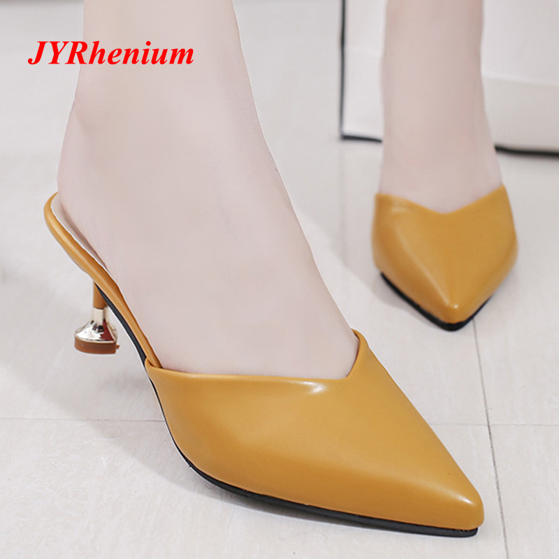 JYRhenium 2018 New Design Pointed Toe Women Pumps Middle Heels Slip on Kitten Heel Chic Women Mules Elegant Office Shoes Women