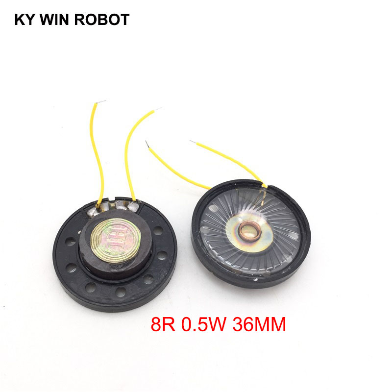 2pcs/lot New Ultra-thin Toy-car Horn 8 Ohms 0.5 Watt 0.5W 8R Speaker Diameter 36MM 3.6CM With Wire