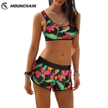 Women Large Size Swimwear Sexy Leaves Printing Beach Suit Soft Bra Shorts Set