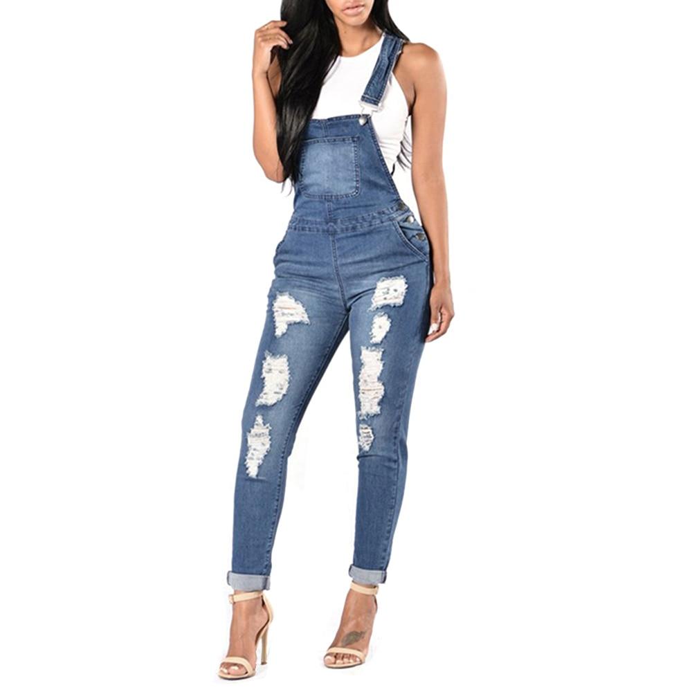 Ripped Denim Overalls Women Jumpsuit Pants Skinny Jeans ...