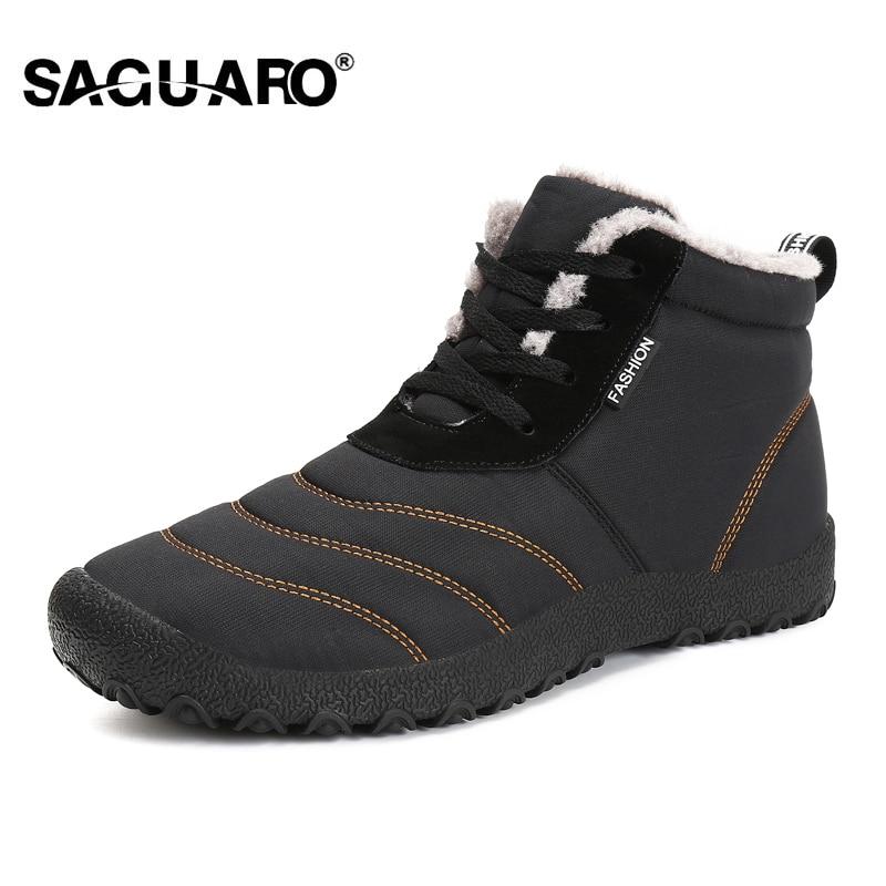 SAGUARO Men Super Quentes Botas de Inverno para Homens Quente À Prova D' Água Sapatos Botas de Chuva 2018 Nova Tornozelo Bota De Neve dos homens botas Masculina bota