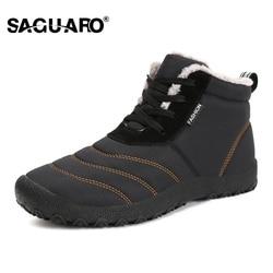 SAGUARO Super Warm Men Winter Boots for Men Warm Waterproof Rain Boots Shoes 2018 New Men's Ankle Snow Boot Botas Masculina bota
