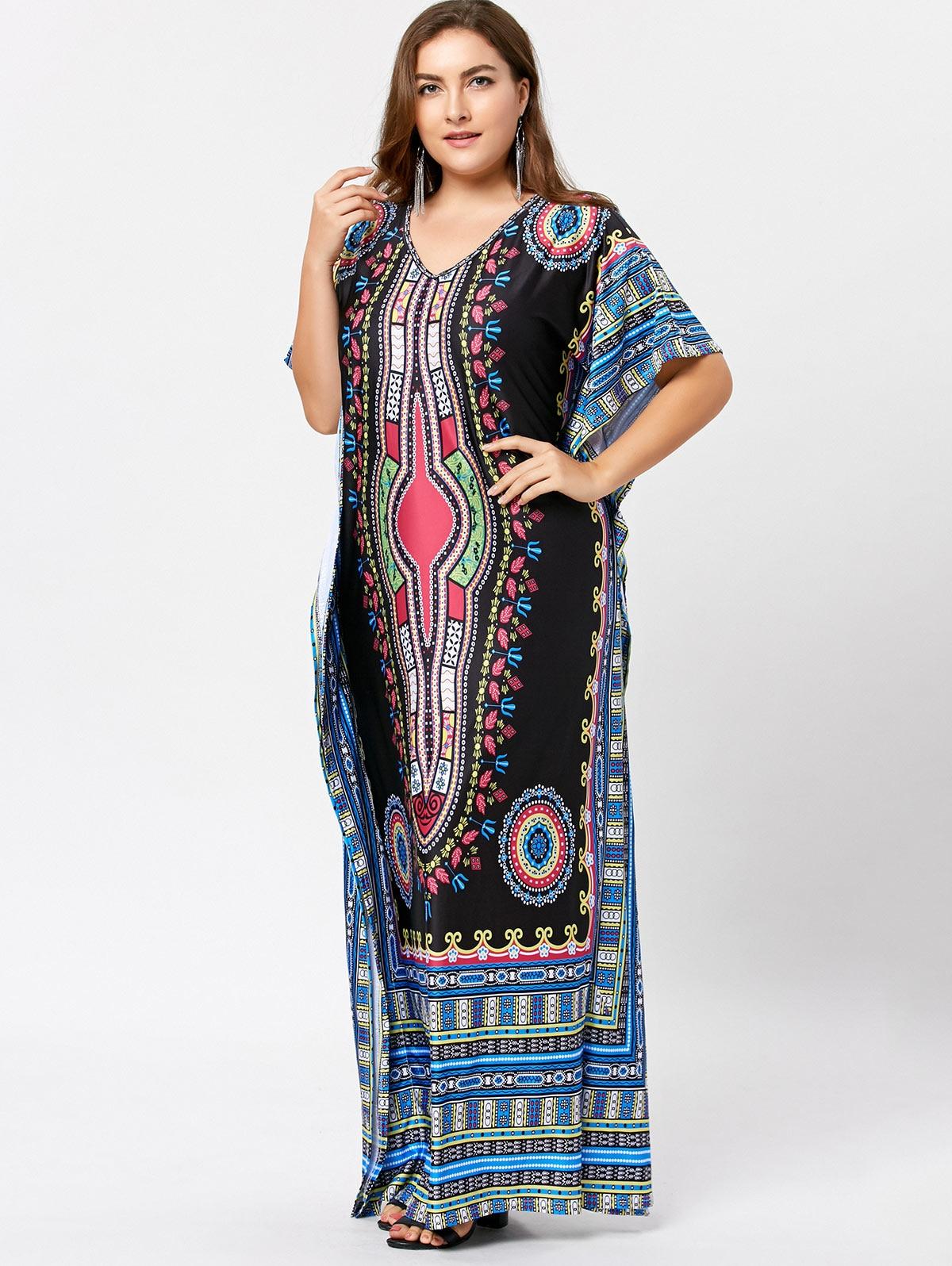d8e9bae43b Gamiss Plus Size Motyl Rękawem Tribal Drukuj Kobiety Maxi Długa Sukienka W  Stylu Vintage Sukienki Krótki Rękaw Casual Luźne Vestidos
