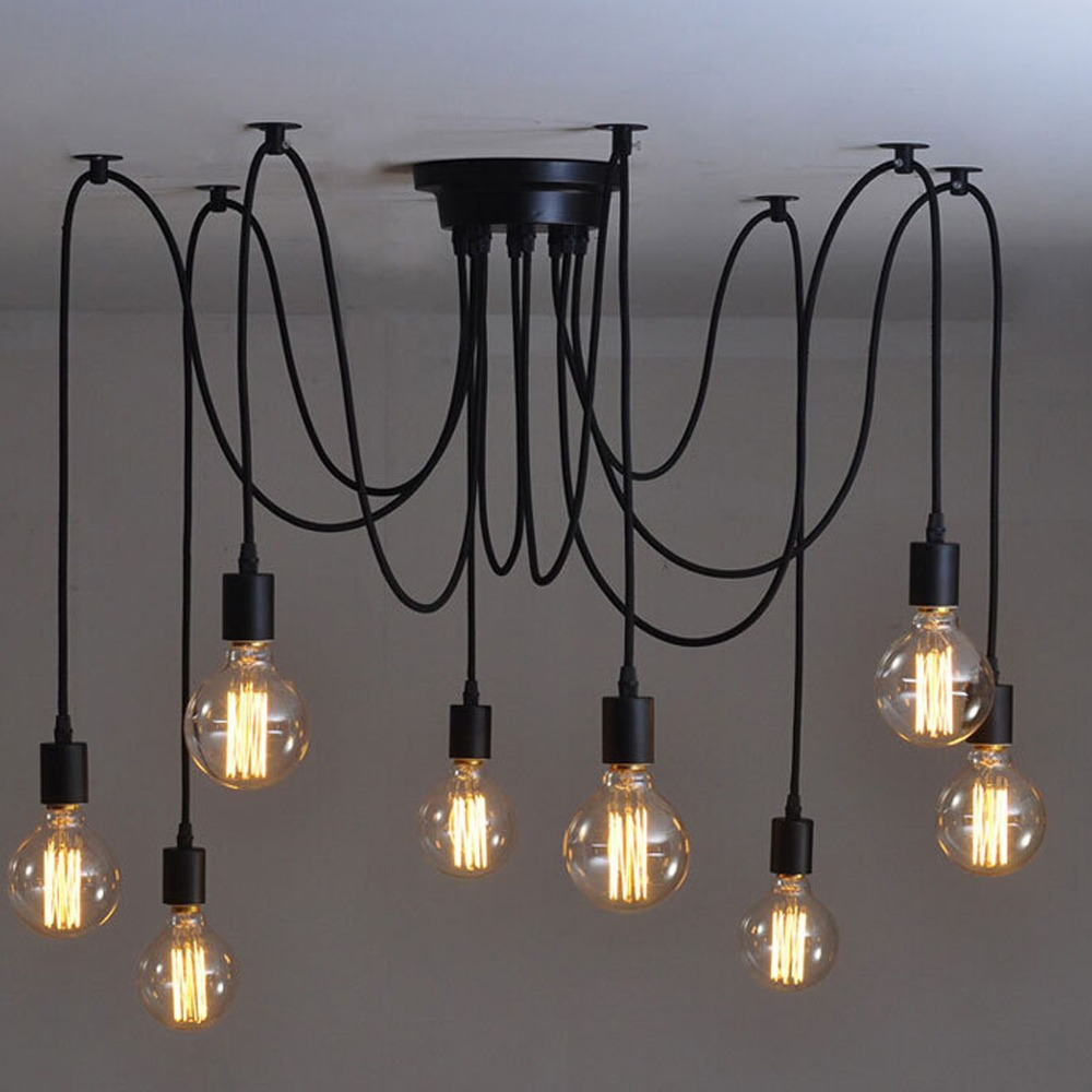 Mordern Nordic Retro Edison Bulb Light Chandelier Vintage Loft Antique Adjustable DIY E27 Art Ceiling Pendant Lamp Fixture Light mordern nordic retro edison bulb light chandelier vintage loft antique adjustable diy e27 art spider ceiling lamp fixture lights