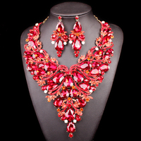 Beautiful Red Leaves Indian Crystal Jewellery Bridal Jewelry Set Gold Color Women Gifts Party Wedding Prom Necklace Earring Sets