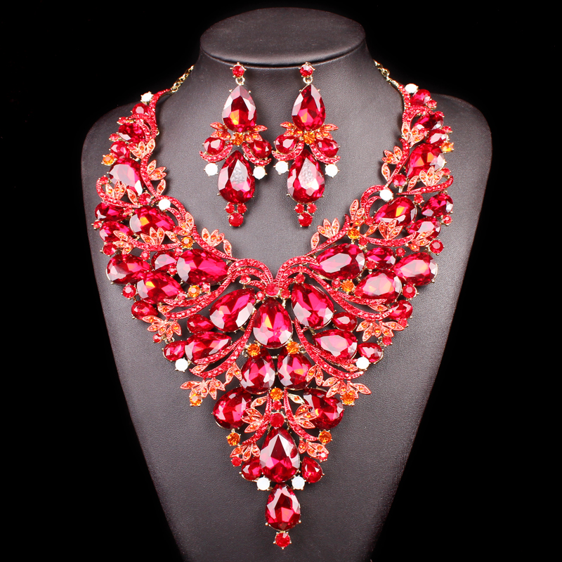 Beautiful Red Leaves Indian Crystal Jewellery Bridal Jewelry Set Gold Color Women Gifts Party Wedding Prom Necklace Earring Sets plated gold jewelry sets four leaf clover necklace jewellery set best gifts for friends and lovers