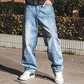 2016 Algodón Largo Skateboard Suelta Pantalones Harem Jeans Hombres Grandes tamaños Baggy Hip Hop Pantalones Vaqueros de Gran Tamaño 40 42 44 46