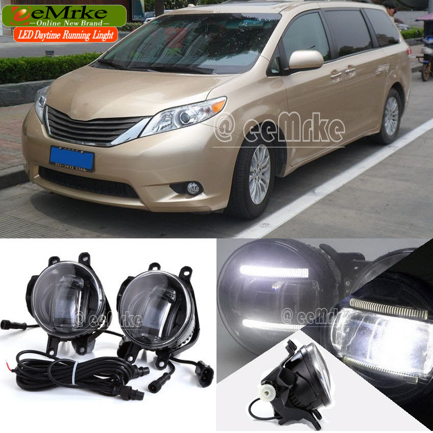 eeMrke Car Styling DRL For Toyota Sienna XL30 2010 + 2in1 Brighter LED Fog Light Lamp With Q5 Lens Daytime Running Lights eemrke car styling for opel zafira opc 2005 2011 2 in 1 led fog light lamp drl with lens daytime running lights