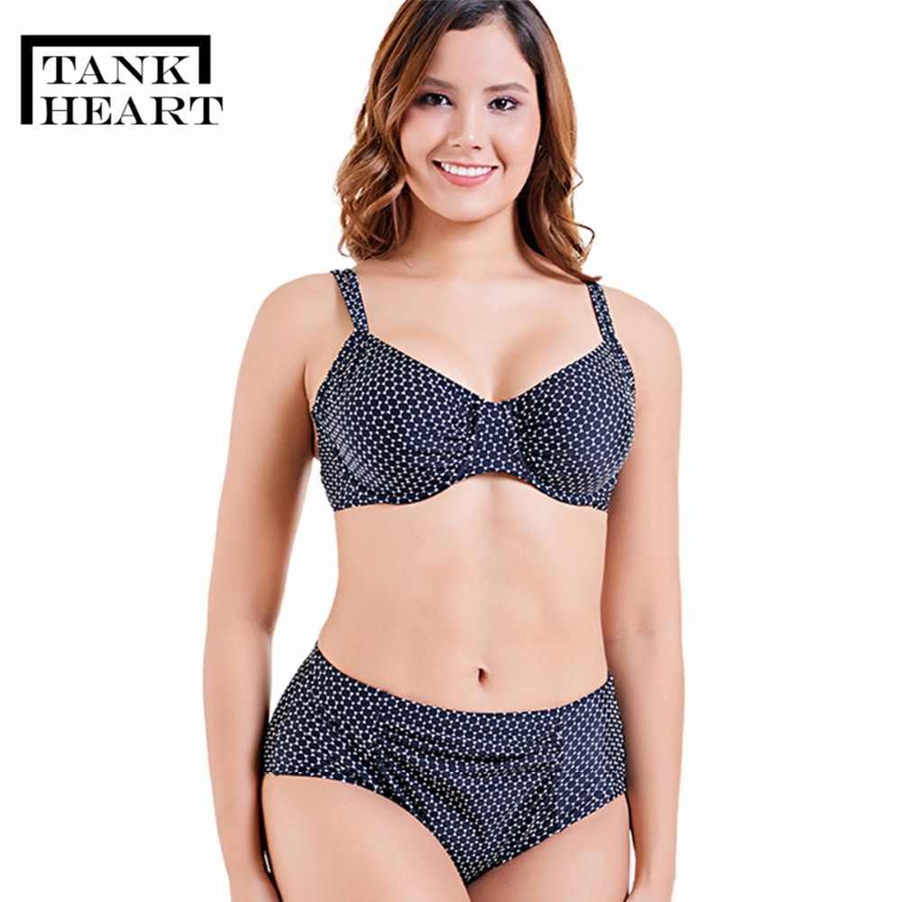 416c6c82b80ac Tank Heart Large Size Female Swimsuit Push Up Bather Women Split Big Breast  Bust Bikini Set