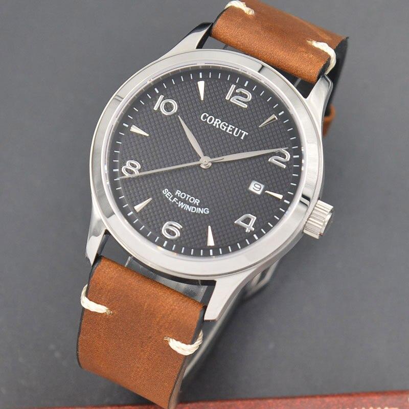 42mm Corgeut/Sterile dial/ Sapphire Glass Automatic mechanical Men's Watch black dial watch 42mm corgeut sterile dial watch sapphire glass black dial automatic mechanical mens watch