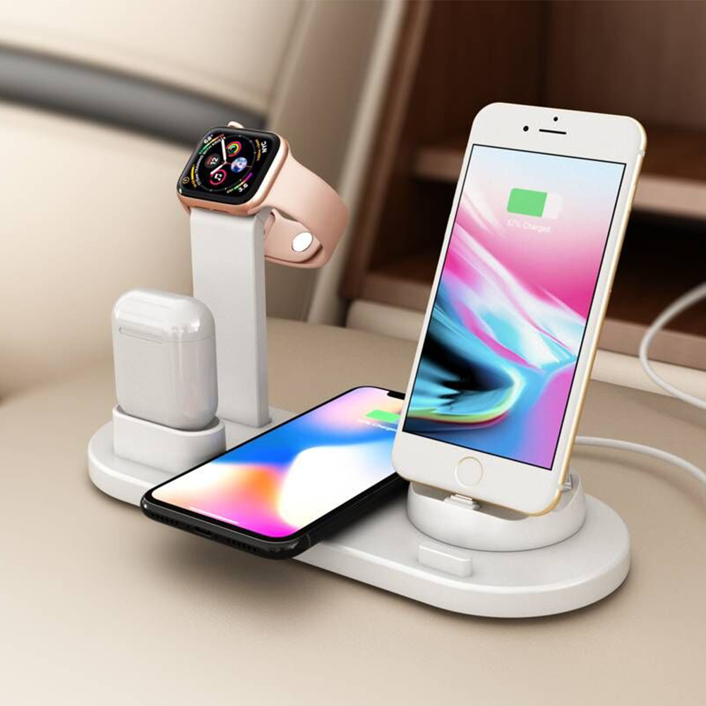 Soporte de carga inalámbrica multifuncional para teléfonos móviles Android IOS Apple iWatch AirPods iphone/micro/tipo- cargador C 3 en 1