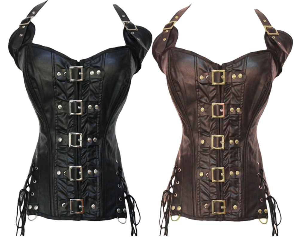 Gothic faux Leather steampunk   Corset   sexy Straps lingerie waist cincher   Bustier   Push Up clubwear Costume S-2XL