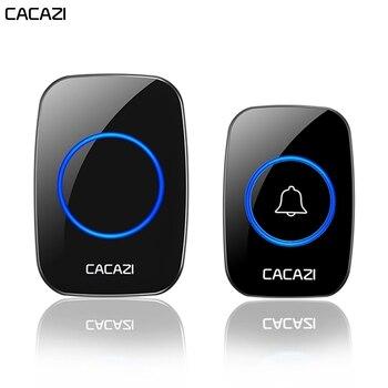 CACAZI Wireless Waterproof Doorbell 1 Button 2 Receiver 300M Remote Control Smart Cordless Home door bell 60 chime US EU UK Plug