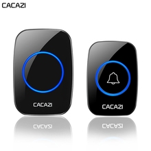 CACAZI Wireless Waterproof Doorbell 1 Button 2 Receiver 300M Remote Control Smar