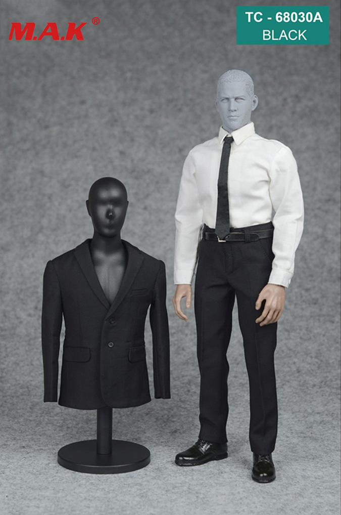 1/6 Scale Male Man Formal Suit&shoes Clothes Clothing Set Black/grey Color For 12 Inches Handsome Man Action Figure Accessory