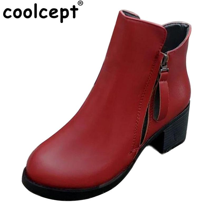 где купить Coolcept Ladies High Heels Ankle Boots Female Round Toe Side Zipper Shoes Women Autumn Platform Botas Footwear Size 35-39 по лучшей цене