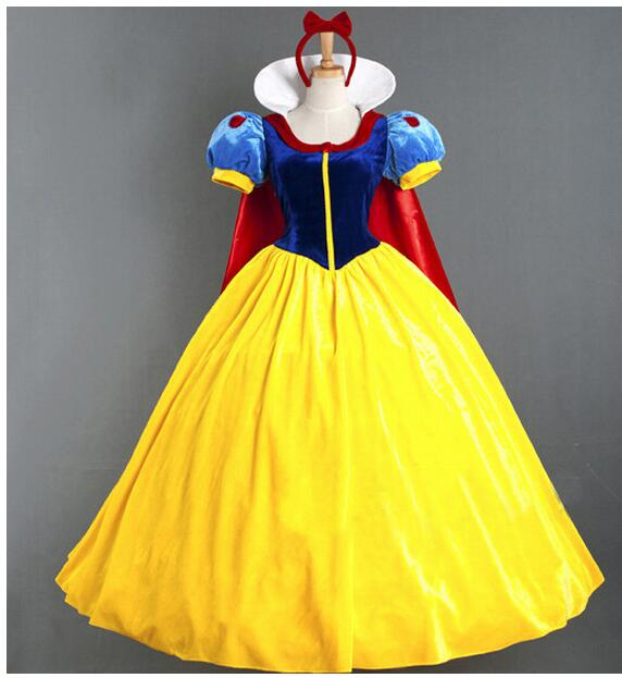 Women Adult Halloween Cartoon Princess Snow White Costume For Sale white snow princess With bustle NL222