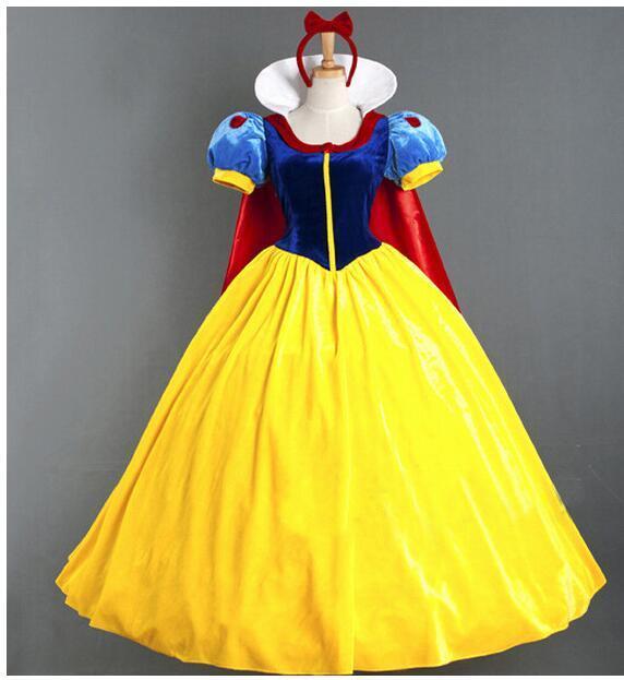 Women Adult Halloween Cartoon Princess Snow White Costume For Sale white snow princess With bustle NL222