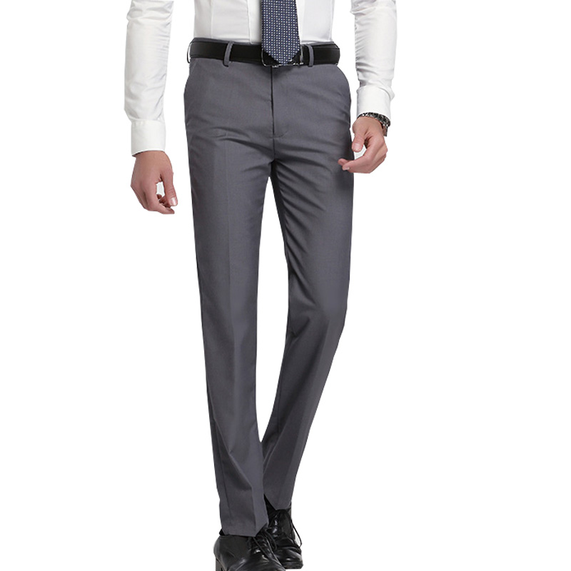 Recommend summer thin slim fit Business men formal suit pants wedding bridegroom trousers 28~40 gray and black color