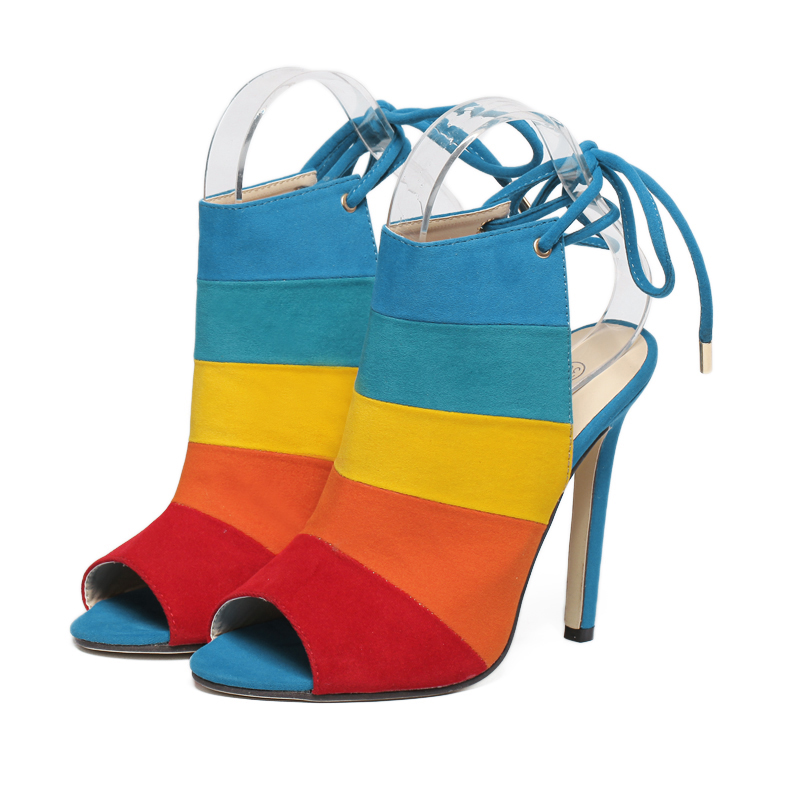 2e353c5ff2a8 2018 New Fashion Lace up Women Peep Toe High Heels Rainbow Shoes Woman Sexy  Sandals Slingbacks Mix color Red Brown Zapatos Mujer-in Women's Pumps from  Shoes ...