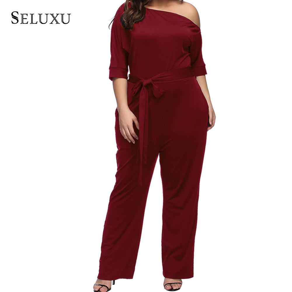 5bf12cae53061 Seluxu 2019 Sexy Plus Size Women Jumpsuit Women One Shoulder Autumn Club  Rompers Womens Jumpsuit Party Elegant Long Romper