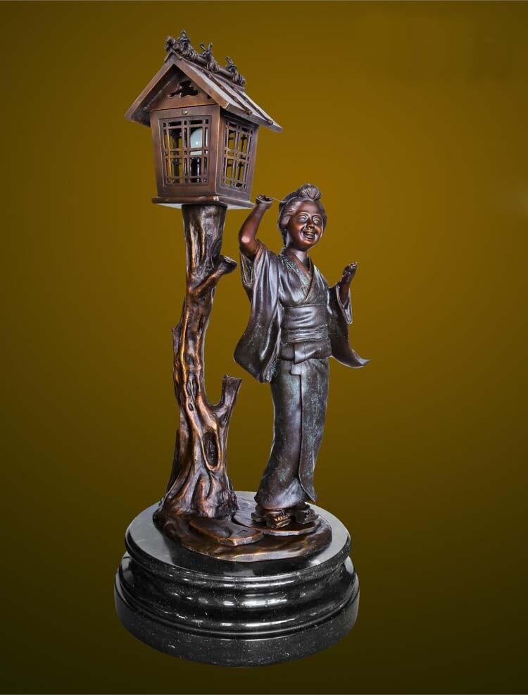 Statue en Bronze sculpture de jeune fille japonaise éclairage artisanat décor de jardin à la maison