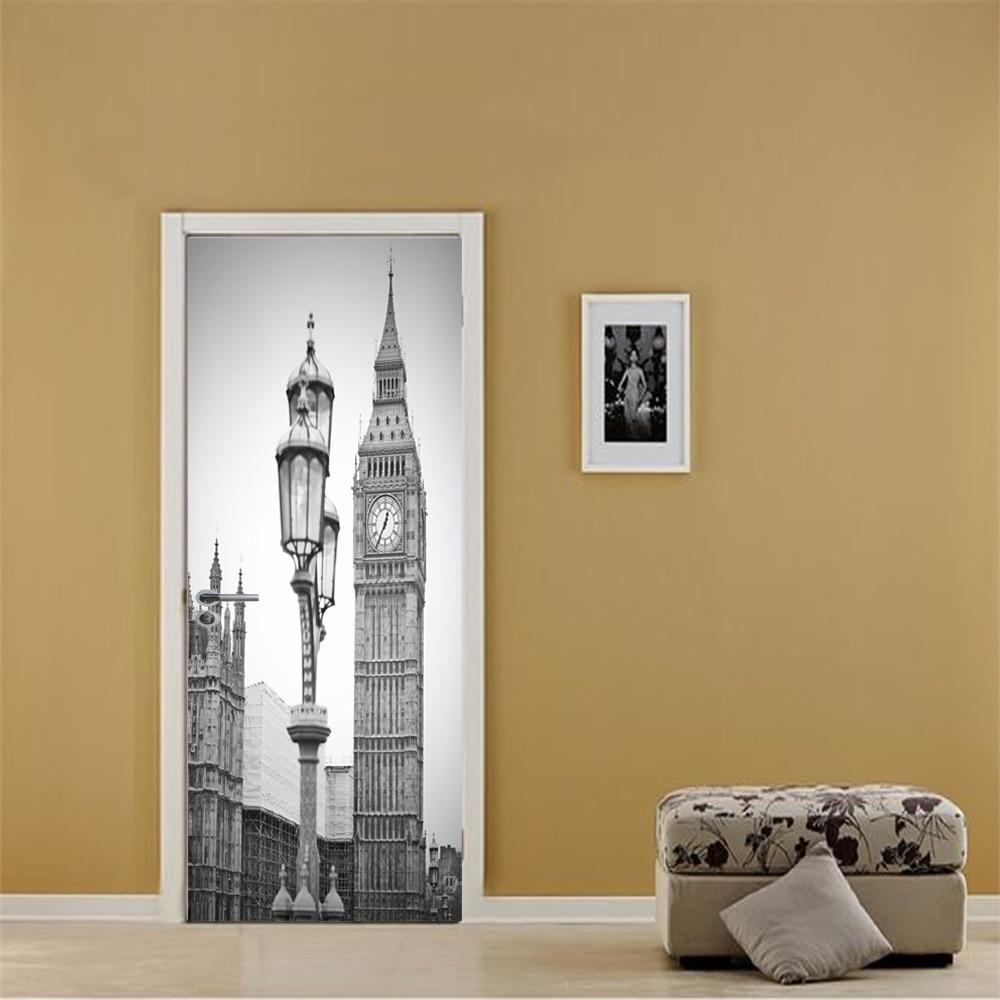 Black White Old Photo PVC Removable 3D City Vintage Scenic Fridge Sticker Wall Door Stickers Street Lamp Big Ben Clock Pattern-in Door Stickers from Home & Garden