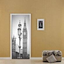 Czarny biały stare zdjęcie pcv wymienny 3D miasto w stylu Vintage Scenic naklejka na lodówkę drzwi naklejki ścienne lampy uliczne Big Ben zegar wzór