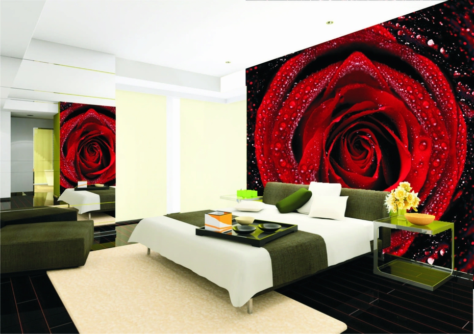 size can be customized mural wallpaper red rose bedroom