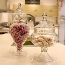 Transparent glass jar with a lid candy jar large food storage tank Canister Storage bottle wedding table decoration flower vase