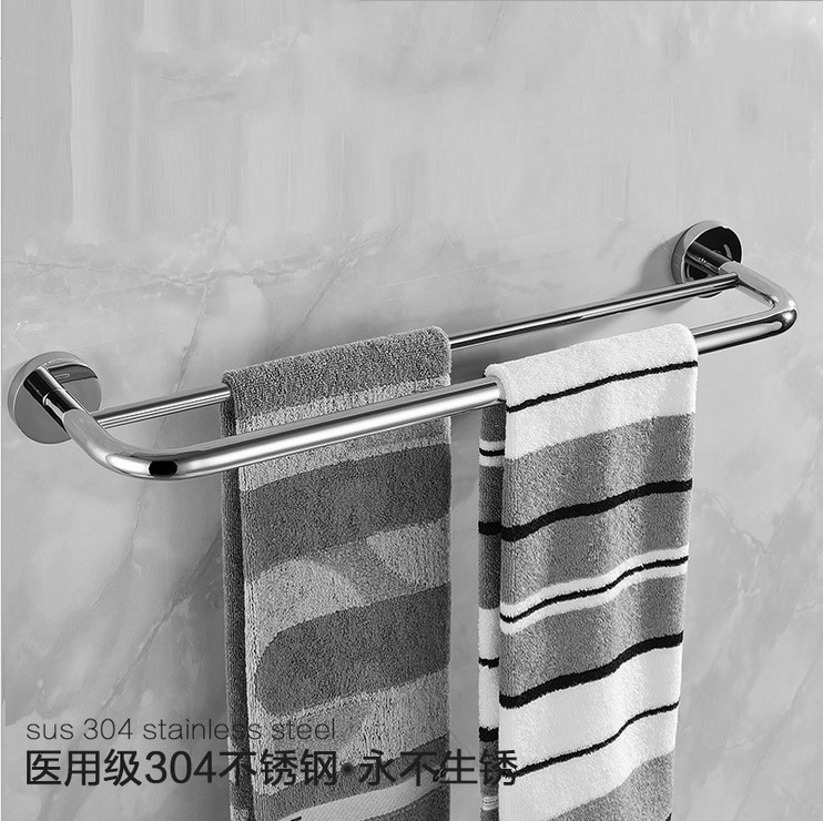Modern Silver 304 Stainless Steel Towel Bar Chrome Double Layer ...